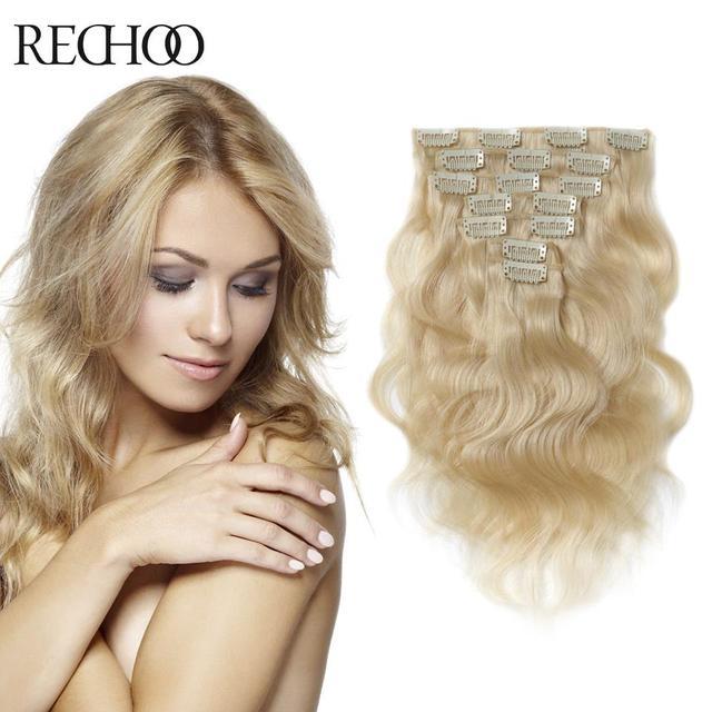 100% Rubio Clip En Extensiones de Cabello Natural Humano de Remy Real Extensiones de cabello 20 22 24 Pulgadas Clip En Extensiones de Pelo Peruano