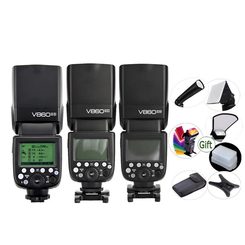 GODOX V860IIC V860IIN V860IIS V860IIO V860IIF Li ion Battery TTL 2 4G HSS Flash Speedlite for
