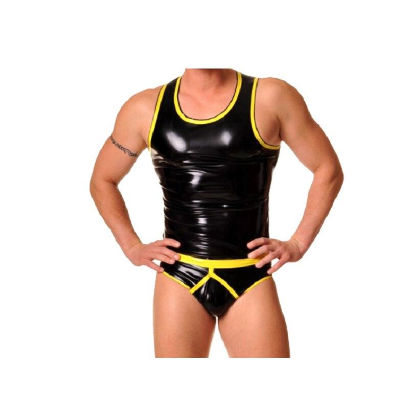 Latex caoutchouc hommes jaune et noir sans manches gilet et Triangle Shorts costume taille XXS XXL