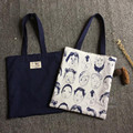 1 Bag Double Sided Usable Cotton Linen Shoulder Bag Eco Shopping Tote Print characters 929-a