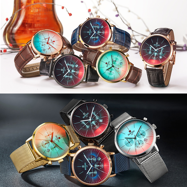 New Fashion Color Bright Glass Luxury Brand Stainless Steel Business Wrist Watch 3