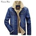 Homens jaqueta e casacos m-4xl marca clothing jaqueta jeans da moda calças de brim dos homens jaqueta grossa inverno quente outwear masculino cowboy yf055