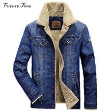 M-4xl männer jacke und mäntel marke clothing jeansjacke mode herren jeans jacke starke warme winter outwear männlichen cowboy yf055