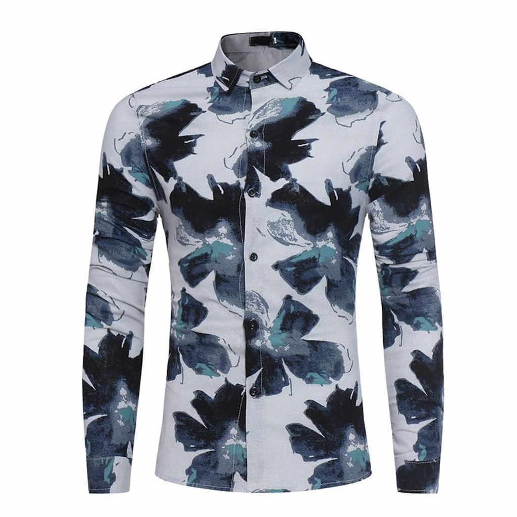 Мужские рубашки, Новые повседневные рубашки с длинными рукавами, мужская повседневная одежда с принтом, длинный рукав, Тонкий Топ, блузка, мужская рубашка, модная блузка
