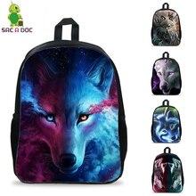 16 Inch Cool Wolves  Printing Backpack Teens Boys Girls School Bags BookBag Casual Travel Rucksack Laptop backpacks sac a dos