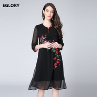 XXXXL Dresses New Brand Chinese Style Summer Dress 2018 Female Charming Floral Embroidery 3 4 Sleeve
