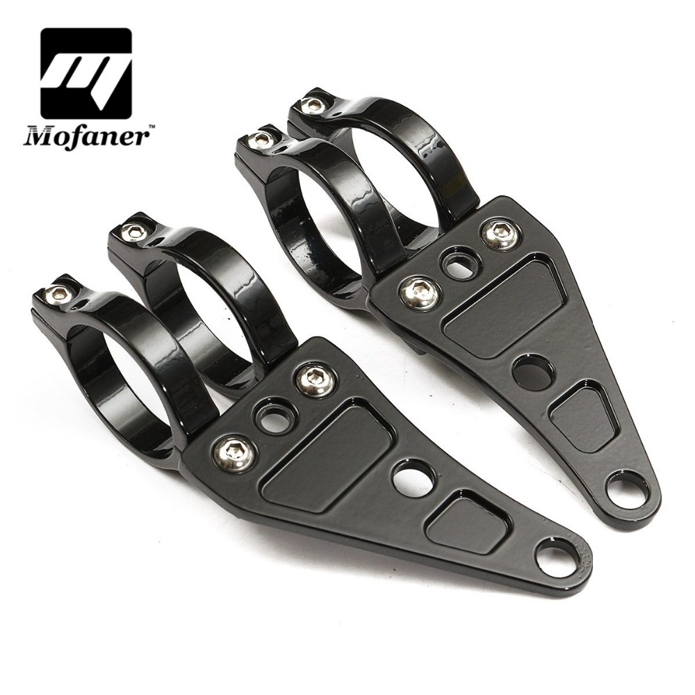 цена на Pair Black 41mm Aluminum Motorcycle HeadLight Mount Bracket Fork For Harley Chopper /Cafe /Racer