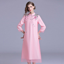 2019 spring and autumn elegant womens clothing embroidery loose big fashion temperament stand collar dress women