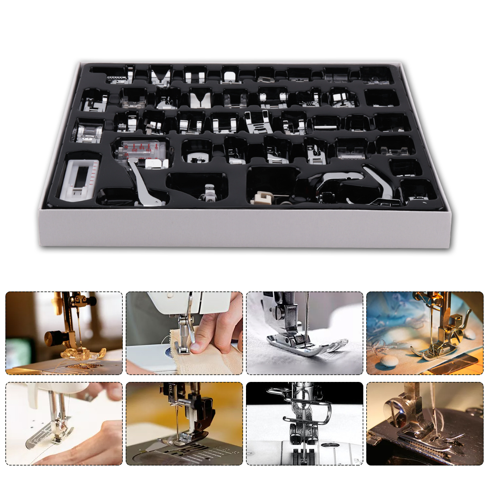 42pcs Domestic Sewing Machine Accessories Presser Foot Feet Kit Set Hem Foot Spare Parts With Box for Brother Singer Janome
