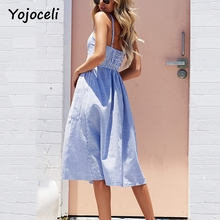 Yojoceli Striped button sexy casual summer strap dress Long boho beach pockets women sundress vestidos Elegant daily dess female