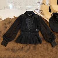 Женская черная блузка с длинным рукавом элегантные женские летние вечерние рубашки 2019 новые женские блузки