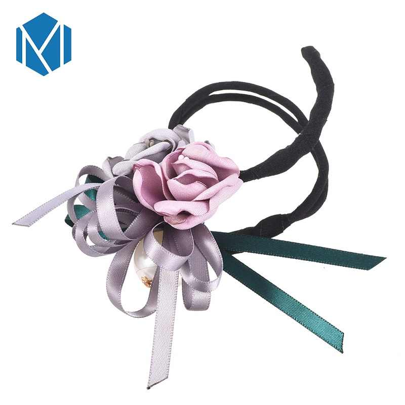 M MISM נשים פרח Donut Bun גדול פניני סרט DIY שיער סגנון ביצוע כלים קוריאני אופנה סגנון שיער Curler אבזרים
