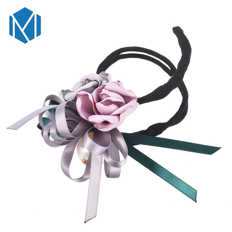 M MISM Women Flower Donut Bun Maker Big Pearls Ribbon DIY Hair Style Making Tools Korean Fashion Style Hair Curler Accessories