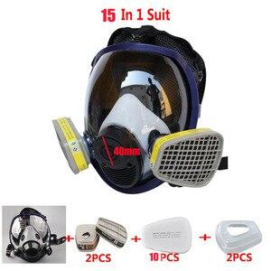 15 Em 1 Terno de Dupla Utilização Indústria Tinta Spray de Gás máscara Mesmo Por 3 M 6800 Full Face Máscara de Proteção Facial Anti-poeira respirador