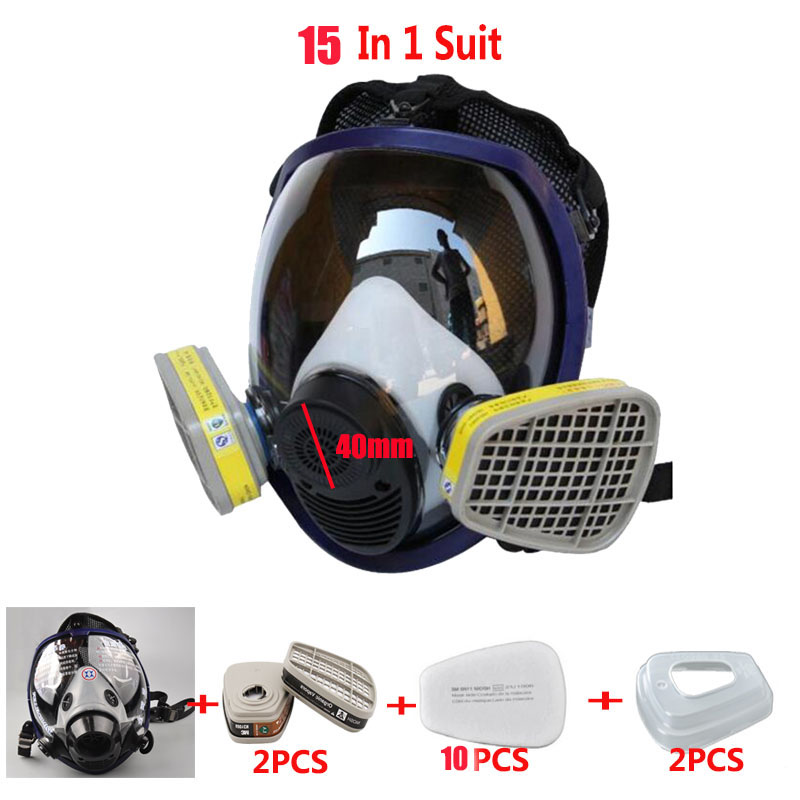 15 In 1 Suit Double Use Industry Paint Spray Gas mask Same For 3M 6800 Full Face Mask Facepiece Anti-dust Respirator