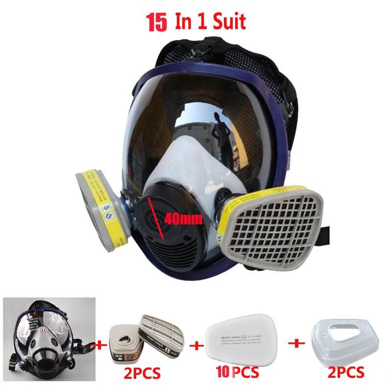 15 en 1 Costume Double Usage L'industrie Peinture masque À Gaz Même Pour 3 m 6800 Masque complet Masque respirateur Anti-poussière