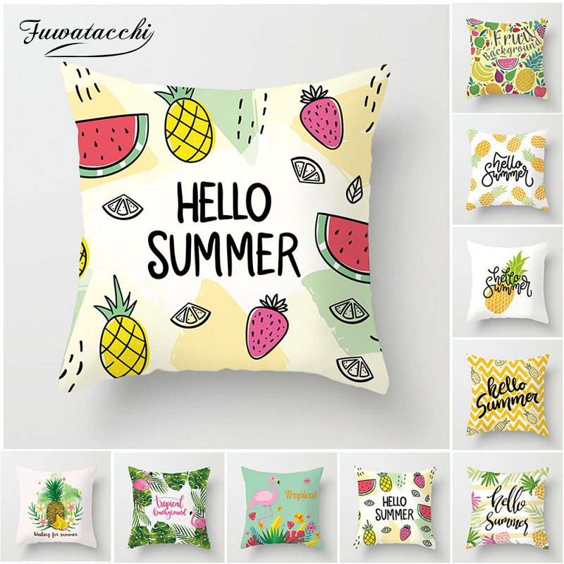 Fuwatacchi Tropical Fruit Cushion Cover Flamingo Watermelon Pineapple Pillow Chair Home Sofa Decoration Summer Pillowcase