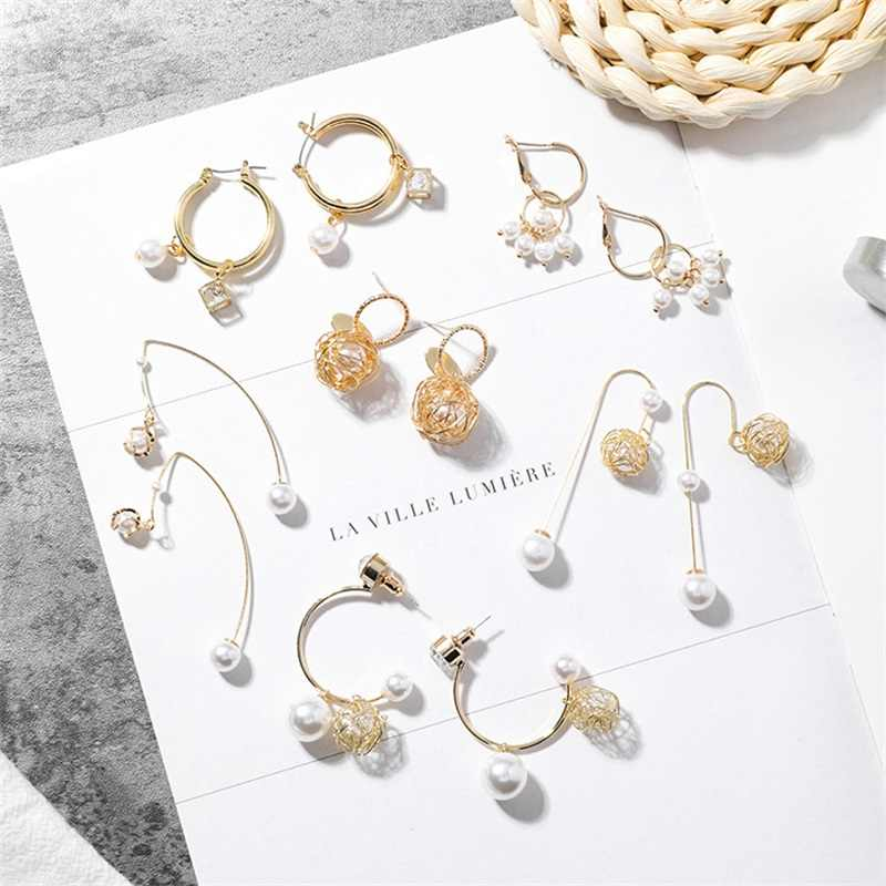 3* Korean Fashion Statement Earrings Elegant Metal Wire Ball Earrings Fashion Analog Pearl Crystal Hanging Pendant Girl Earrings