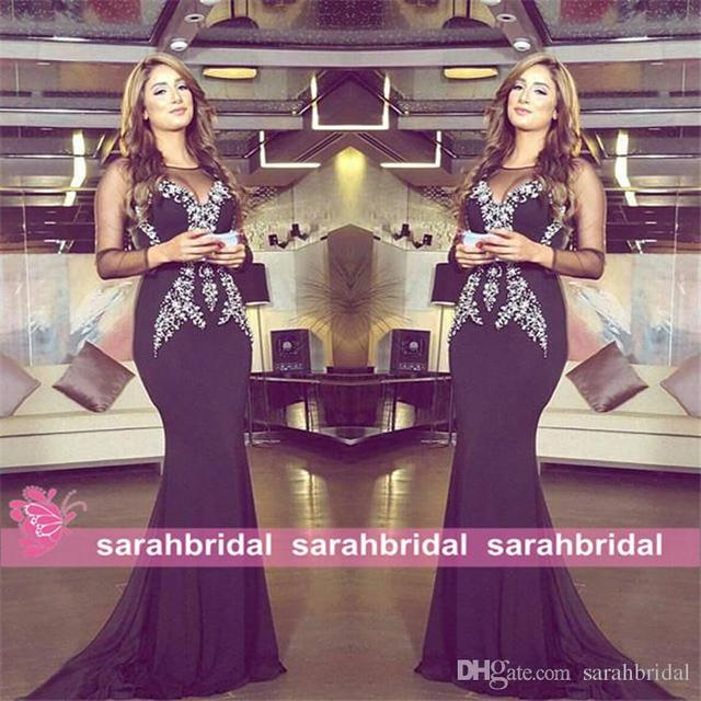 2015 sophisticated black evening dresses for qatar arabic women