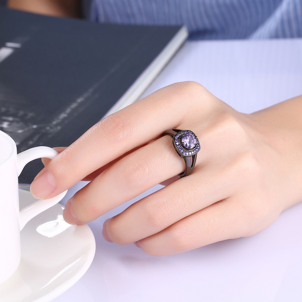 HIYONG Split Band Engagement Ring Double Halo Three Stone Color to ...