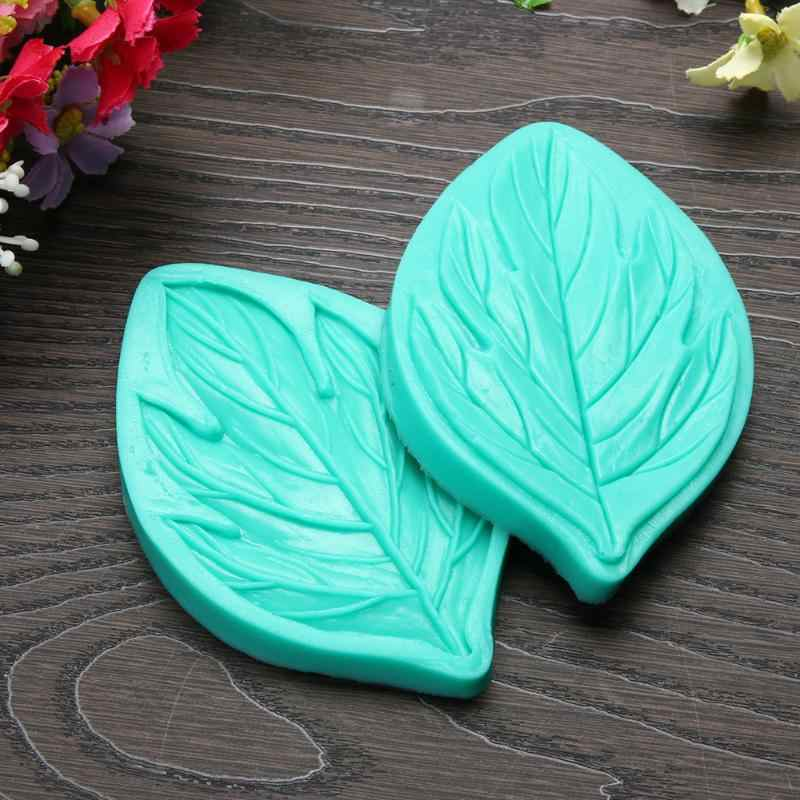 2Pcs/lot 3D Leaves Fondant Cake Decorating Tools Silicone Mold Flower Making Peony Floral Petal Leaf Veiner Kitchen Accessories