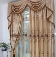 Ready Curtain 3pcs Lot Embroidered Curtains With Hooks Punching Rod Pocket Adjust Length For Different Size