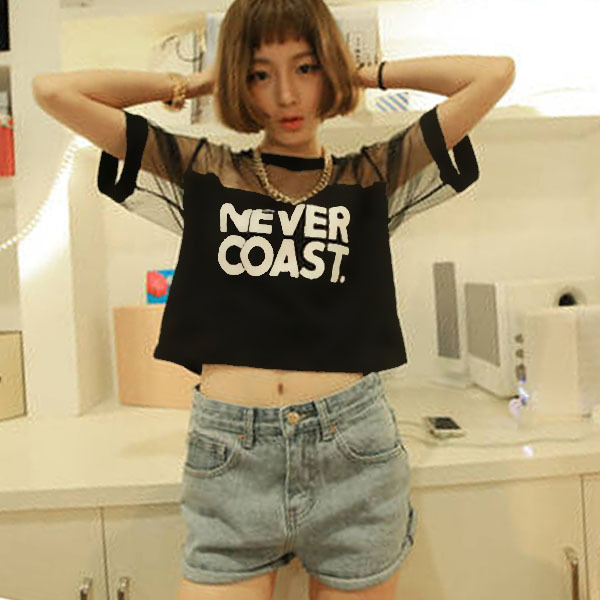 2019 Women T-Shirt Crop Top Shirt Sleeve Mesh See-through Short Tops Crew Neck See-through Gauze Tops New Arrival