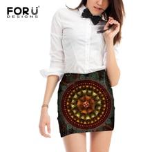FORUDESIGNS 3D Women Skirt Pencil Skirts Retro Style Ladies High Waist Package Hip Short Femme Vortex Floral Pattern M L