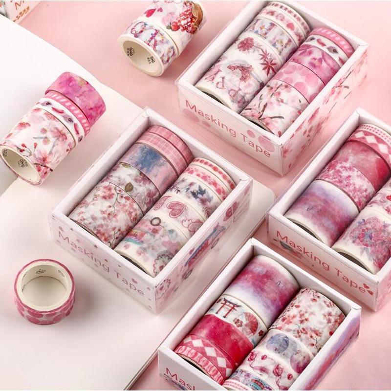 10 Pcs Washi Tape Set Stickers Scrapbooking Wash Washitape Cinta Adhesiva Decorativa Whasi Flower Kawaii Paper Japanese Lot
