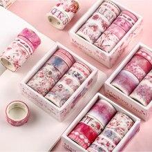 10 pçs washi conjunto de fita adesivos scrapbooking lavagem lavagem cinta adesivos decorativa whasi flor kawaii papel japonês lote