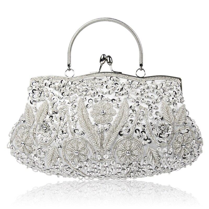 Vintage Handmade Embroidery Woman Evening Bag Wedding Bag Rhinestone Party Clutch Crystal Women's Clutch Banquet Beaded Handbags