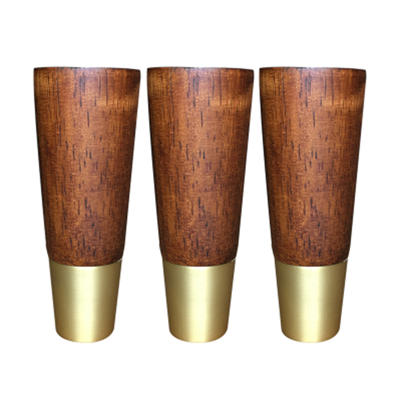 5Pcs Rubber Wood Leg Cabinet Furniture Feet Simple Style Table Leg with Iron Plate and Screws
