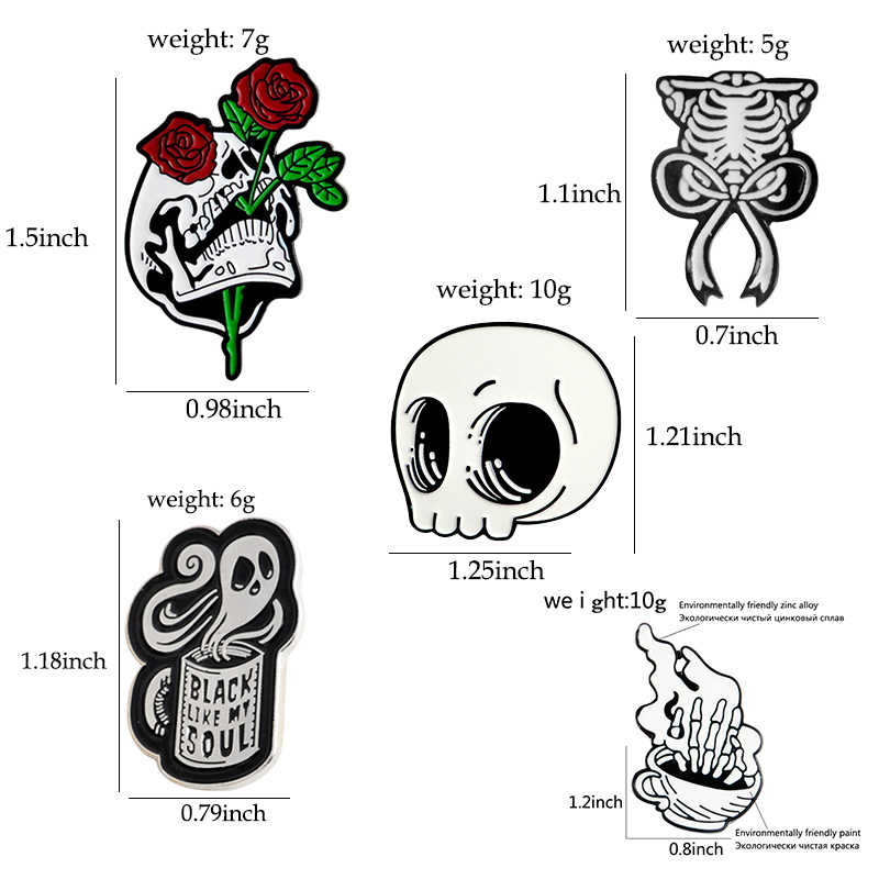 Kerangka Enamel Pin Tengkorak Kopi Hantu Rose Lencana Bros Kerah Pin Jean Denim Shirt Bag Gothic Punk Perhiasan Hadiah untuk teman