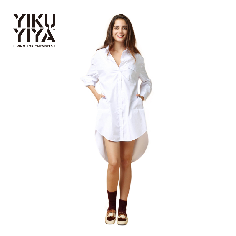 YIKUYIYA Spring Dress 2017 Women Clothing Brief Solid Casual Loose Vestidos Boyfriend Long Sleeve Lapel Button Down Shirt Dress