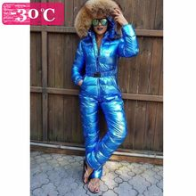 Winter Women Down Jumpsuit Girl's Down Rompers Natural Fur Female Down Jackets Girl Down Catsuit Snow Wear XS S M L XL 160-180cm(China)