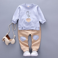 2017 Spring New 100 Cotton Love Children Clothing Sets Long Sleeved T Shirt 1 Pants 1