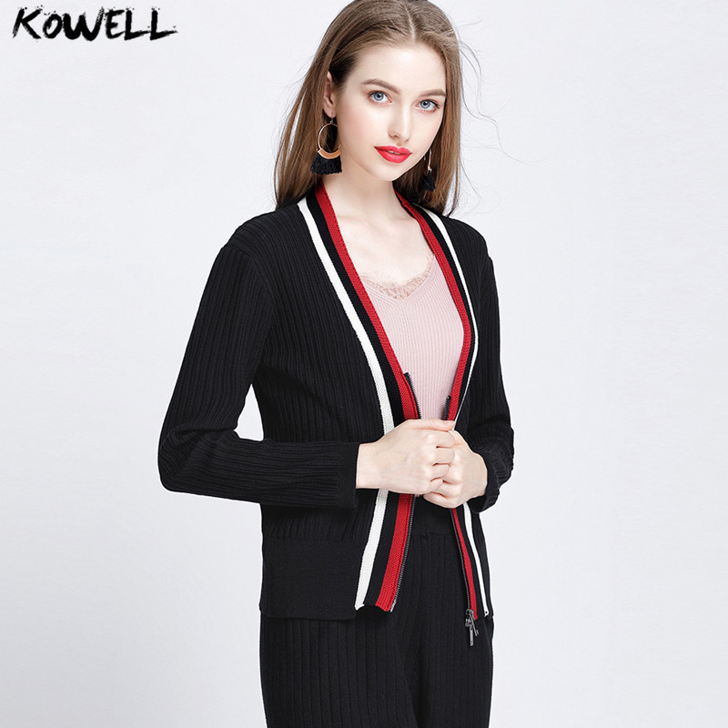 autumn winter 2018 women sweater cardigans long sleeve V-Neck slim striped patchwork knitted female clothes casual zipper coat