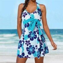 Tankini Bikini Set 2018 Plus Size Swimsuit Women Swimwear Shorts Bathing Suit Retro Printed Suit Push Up Beachwear F40