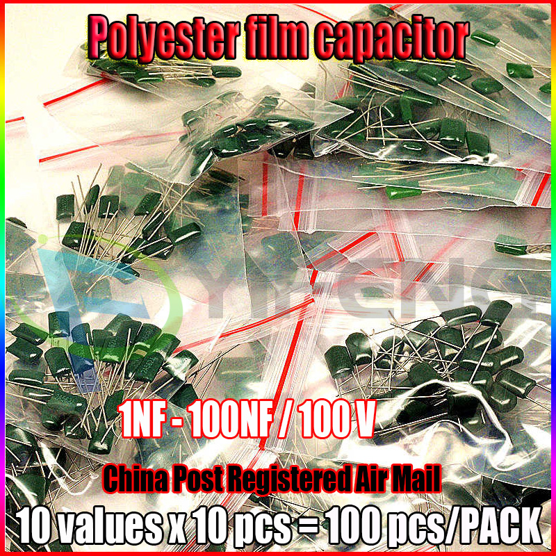 10 Value 100pcs Capacitor 100V 2A102J To 2A104J 1nF To 100nF Polyester Film Capacitor Assorted Kit