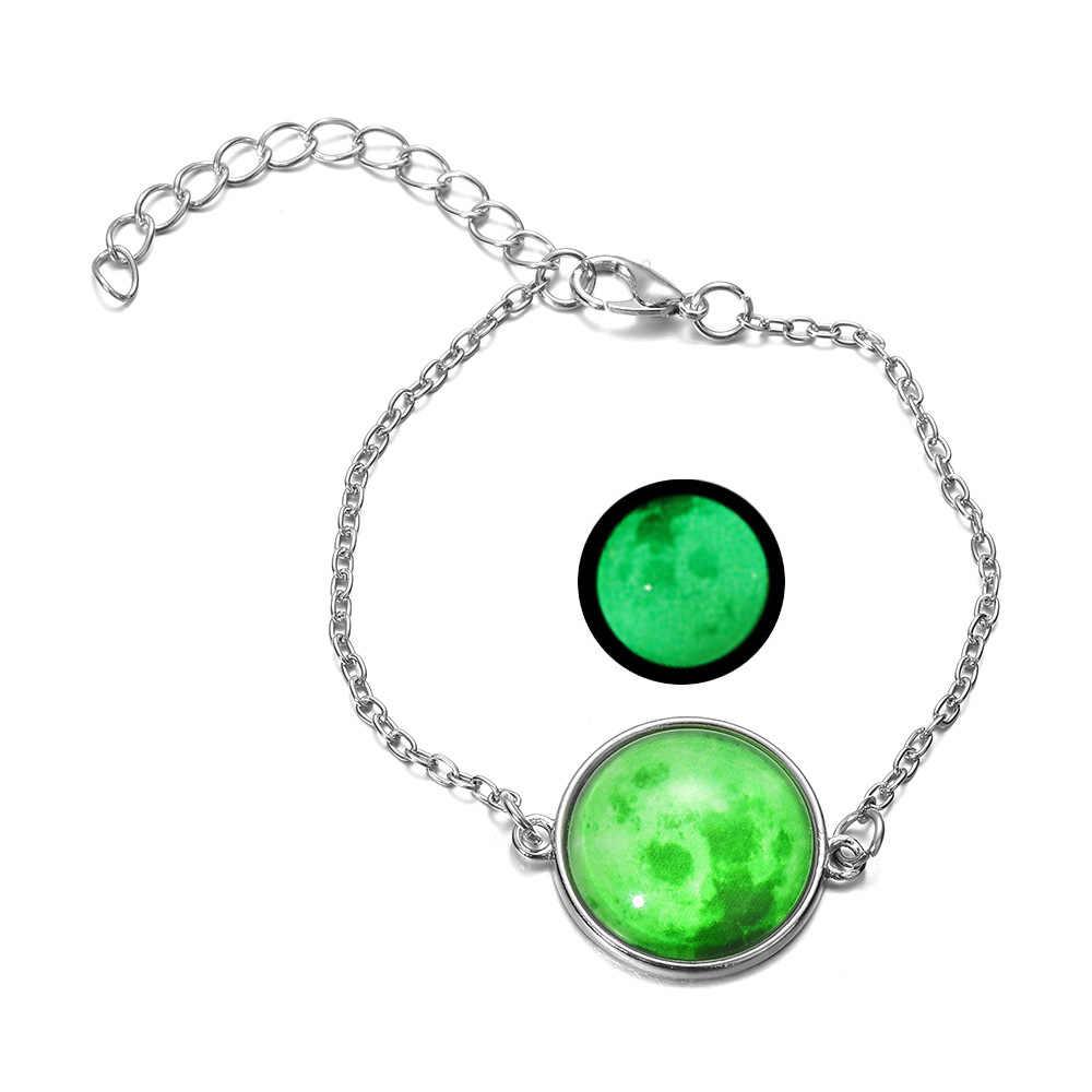DIEZI светится в темноте шармы браслет со стеклянным кабошоном серая луна светящиеся украшения Серебряная цепочка звено браслеты для женщин подарок для девочек