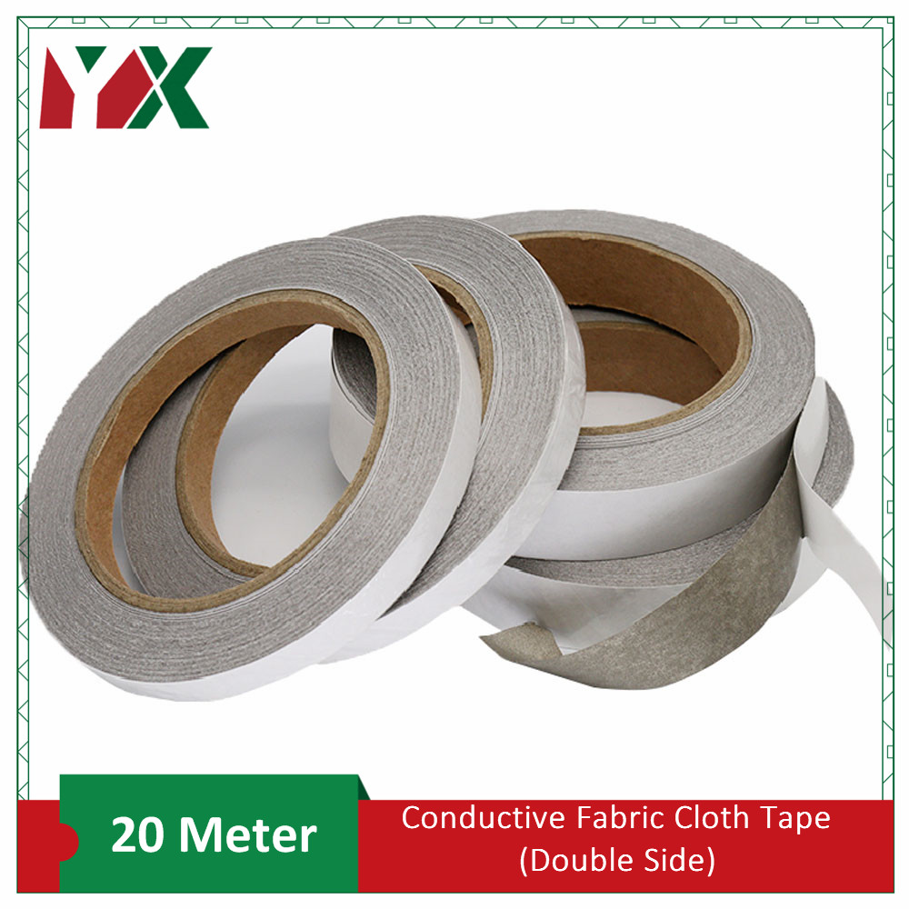 YX Double Sided Adhesive Conductive Fabric Tape Anti-Radiation For Laptop Cellphone LCD EMI Shielding Mask 20 Meters