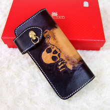 HK OLG.YAT skull wallet men purse women bag long hasp handbag Italian leather Vegetable tanned handmade wallets Choi cloth retro