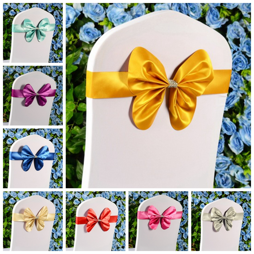 15 Colours Spandex Chair Sashes Wedding Chair Sash Mini Style Butterfly Bow Tie Lycra Stretch Band Hotel Party Show