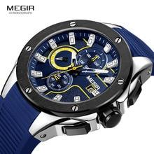 MEGIR Men's Sports Chronograph Quartz Watches Silicone Strap Luminous Waterproof Army Military Wristwatch Man Relogios 2053 Blue