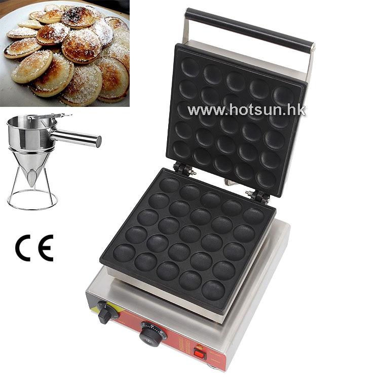 Free Shipping Commercial Non-stick 110V 220V Electric 25pcs Poffertjes Dutch Mini Pancakes Maker Iron Machine W/Batter Dispenser 2 in 1 non stick lpg gas dutch mini pancakes poffertjes dorayaki maker machine baker batter dispenser