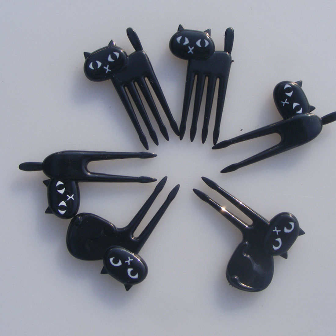 New 6 PCs Little Black Cat Fruit Forks Cute Cartoon Fork for Kitten Easy Decoration Sign Happy Gifts of Eco-Friendly dropship