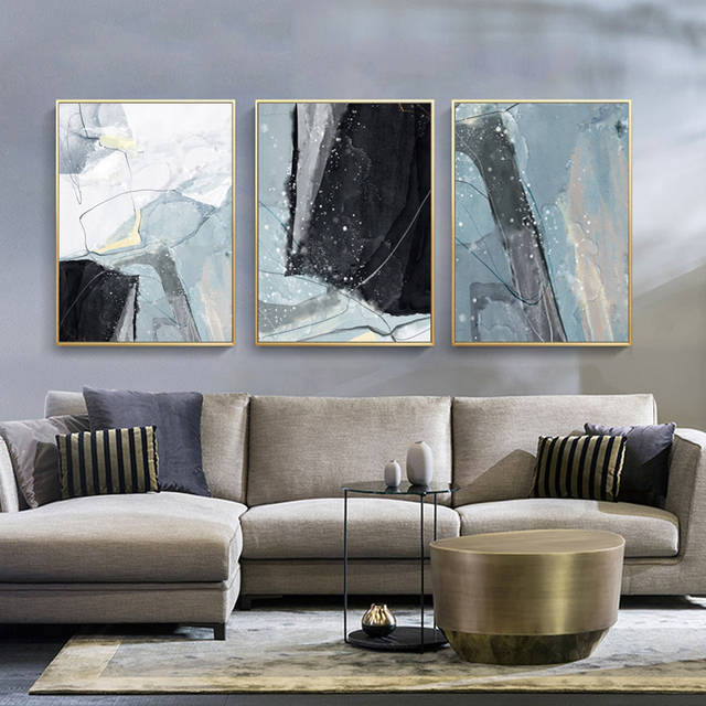 Abstract Marble Canvas Print Paintings Light Blue Poster Nordic 1