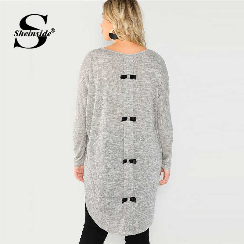 Sheinside Plus Size Lange Mouwen Vrouwen T-shirt Kantoor Dames Grey Bow Detail Back Hoog Laag Heathered Knit Tee Shirts Womens tops