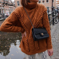 Artsnie Spring 2019 Turtleneck Knitted Sweater Women Tricot Long Sleeve Loose Jumper Pullover FemaleCasual Pull Femme Sweaters