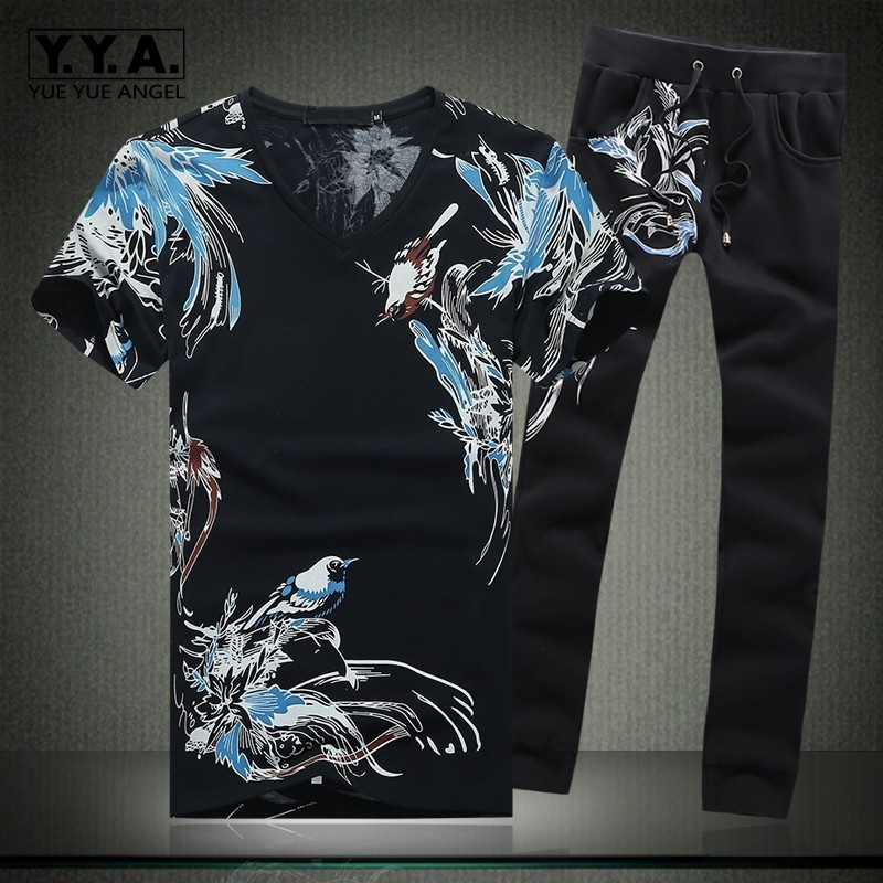 2019 Summer Mens Sets Short Sleeve Clothes Trousers For Men Print Floral Casual Full Pants Plus Size M-5XL Two Piece Sets Male